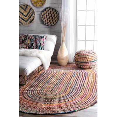 Sumitra Hand-Braided Blue/Yellow/Red Area Rug Rug Size: Oval 7 x 9