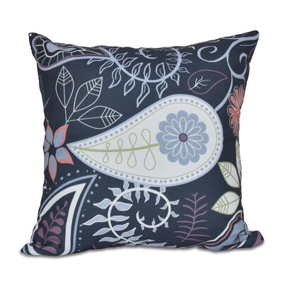 Vinoy Paisley Floral Throw Pillow Size: 16 H x 16 W, Color: Navy Blue