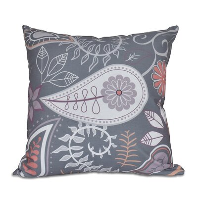Vinoy Paisley Floral Throw Pillow Size: 26 H x 26 W, Color: Gray