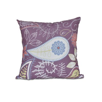 Vinoy Paisley Floral Outdoor Throw Pillow Size: 18 H x 18 W, Color: Purple