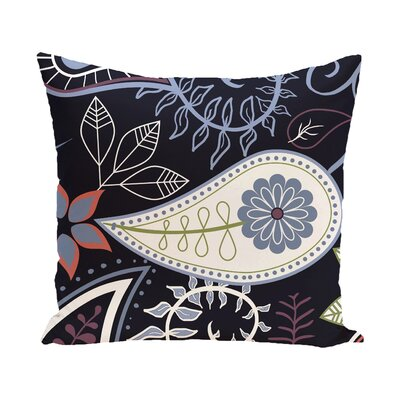 Vinoy Paisley Floral Outdoor Throw Pillow Size: 20 H x 20 W, Color: Navy Blue