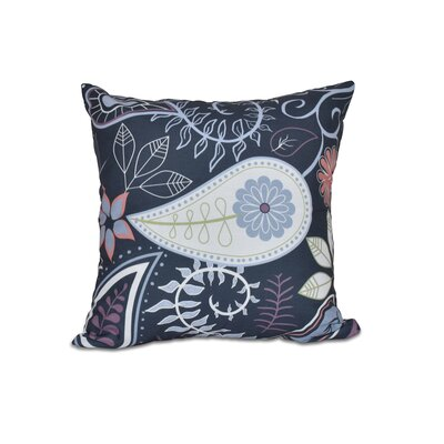 Vinoy Paisley Floral Outdoor Throw Pillow Size: 18 H x 18 W, Color: Navy Blue
