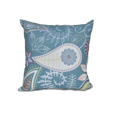 Vinoy Paisley Floral Outdoor Throw Pillow Color: Teal, Size: 16 H x 16 W