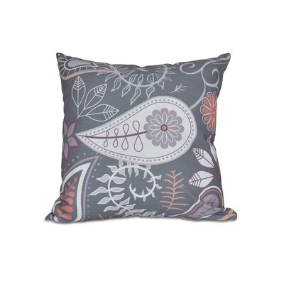 Vinoy Paisley Floral Outdoor Throw Pillow Size: 18 H x 18 W, Color: Gray