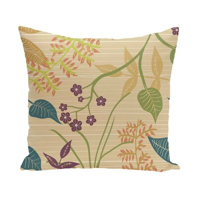 Vinoy Botanical Floral Outdoor Throw Pillow Color: Gold, Size: 16