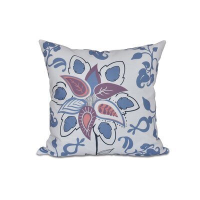 Vinoy Paisley Pop Floral Outdoor Throw Pillow Size: 18 H x 18 W, Color: Blue