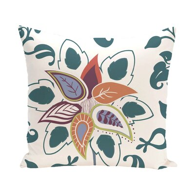 Vinoy Paisley Pop Floral Outdoor Throw Pillow Size: 20 H x 20 W, Color: Teal