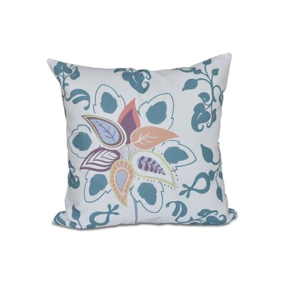 Vinoy Paisley Pop Floral Outdoor Throw Pillow Size: 18 H x 18 W, Color: Teal