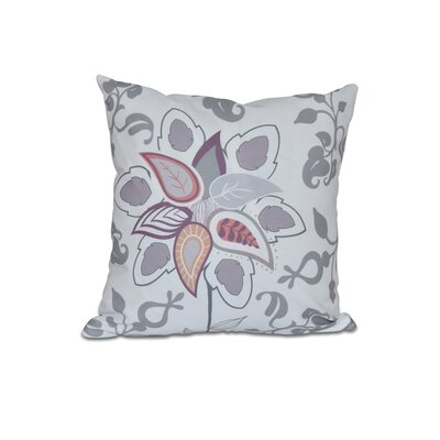 Vinoy Paisley Pop Floral Outdoor Throw Pillow Size: 18 H x 18 W, Color: Gray