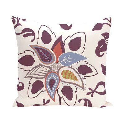 Vinoy Paisley Pop Floral Outdoor Throw Pillow Size: 20 H x 20 W, Color: Purple
