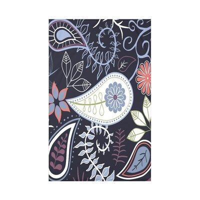 Vinoy Paisley Floral Fleece Throw Blanket Size: 60 L x 50 W x 0.5 D, Color: Navy Blue