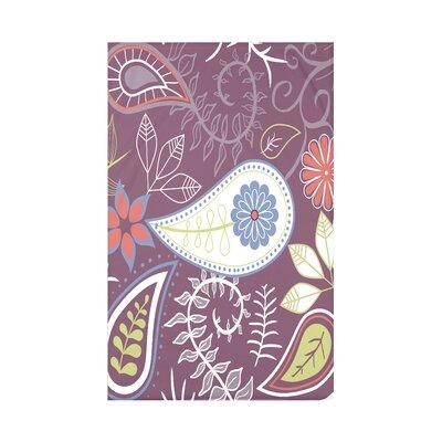 Vinoy Paisley Floral Fleece Throw Blanket Size: 60 L x 50 W x 0.5 D, Color: Purple