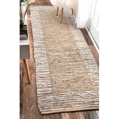 Crosby Hand-Woven Beige Area Rug Rug Size: Runner 26 x 8