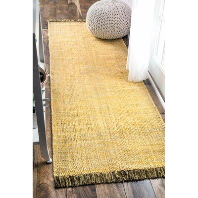 Flatwoven Yellow Area Rug Rug Size: Runner 26 x 8