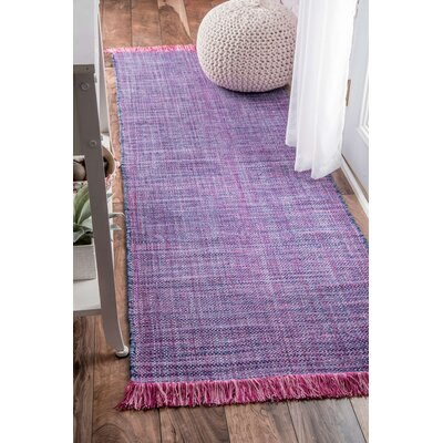 Tanouye Flat Woven Cotton Purple Area Rug Rug Size: Runner 26 x 8