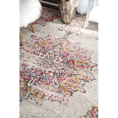 Darchelle Beige/Pink Area Rug Rug Size: 9 x 12