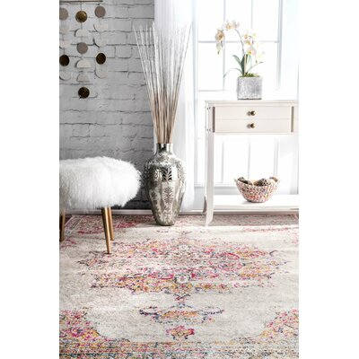 Darchelle Beige/Pink Area Rug Rug Size: Rectangle 8 x 10