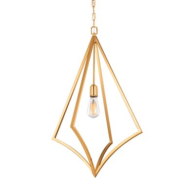 Beverly 1-Light Foyer Pendant Finish: Burnished Brass, Size: 32 H x 19 W x 19 D