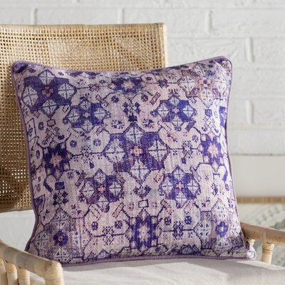 Gardner Square Cotton Throw Pillow Size: 18 H x 18 W x 4 D, Color: Pale Pink/Purple/Violet/Pale Blue/Gray/Lilac