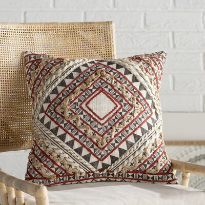 Jaidyn Woven Cotton Throw Pillow Size: 18 H x 18 W x 4 D, Color: Rust/Camel/Black/Cream
