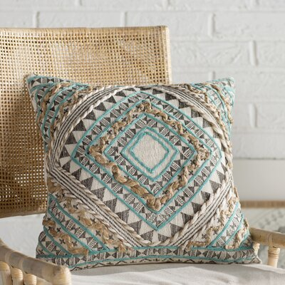 Jaidyn Woven Cotton Throw Pillow Size: 18 H x 18 W x 4 D, Color: Mint/Camel/Black/Cream