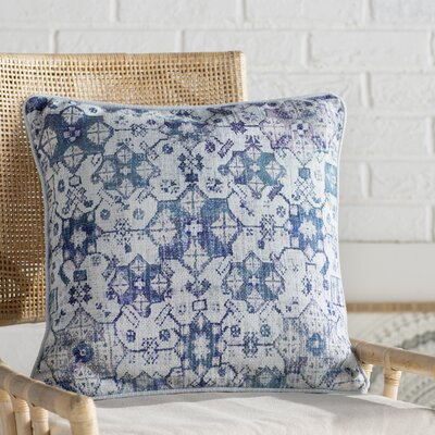 Gardner Square Cotton Throw Pillow Size: 18 H x 18 W x 4 D, Color: Pale Blue/Teal/Sky Blue/Mauve/Dark Blue