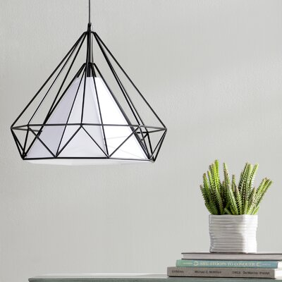 Desirae 1-Light Foyer Pendant Size: 15 H x 14 W, Shade Color: White