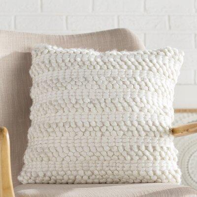 Prony Woven Stripes Jute Throw Pillow Color: White