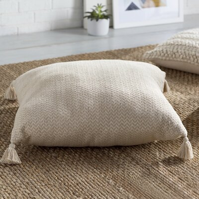 Cottonwood Chevron Cotton Floor Pillow Color: Beige