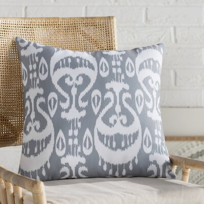 Sabrina Ikat Geometric Outdoor Throw Pillow Size: 20 H x 20 W, Color: Gray
