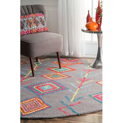 Dayne Hand-Tufted Gray Area Rug Rug Size: Round 6'