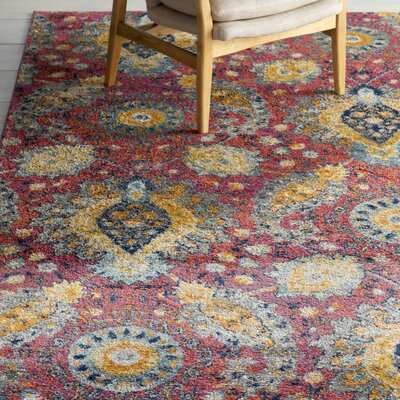 Loretta Pink/Gold Area Rug Rug Size: Rectangle 3 x 5