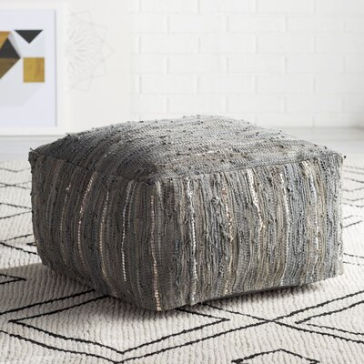 Anthracite Leather Pouf Upholstery: Gray