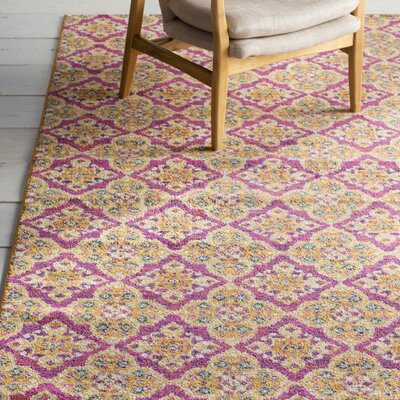 Loretta Pink/Gold Area Rug Rug Size: Rectangle 9 x 12