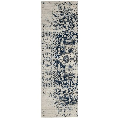New Caledonia Beige/Navy Blue Area Rug Rug Size: Runner 23 x 8