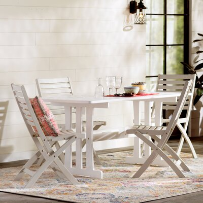 Marmol Acacia 7 Piece Patio Dining Set Color: Antique White