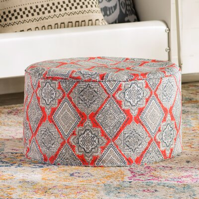24 Round Pouf Outdoor Ottoman Cushion in Coral