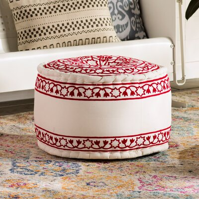 Kearny Cube Pouf Ottoman Upholstery: Red