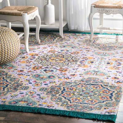 Nikolas Lilac/Gray Area Rug Rug Size: Rectangle 5 x 8