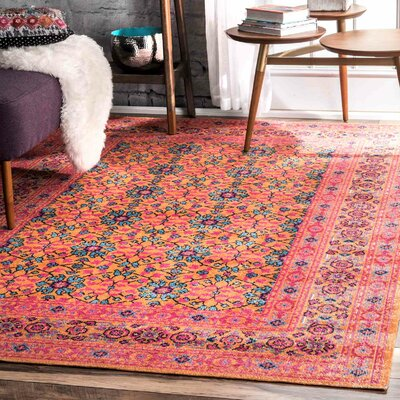 Burchett Orange Area Rug Rug Size: 4 x 6