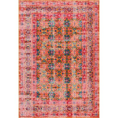 Burchett Red/Green Area Rug Rug Size: Rectangle 4 x 6
