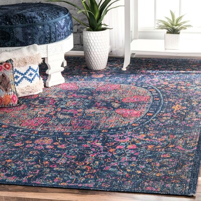 Alfredo Navy Area Rug Rug Size: Rectangle 5 x 75