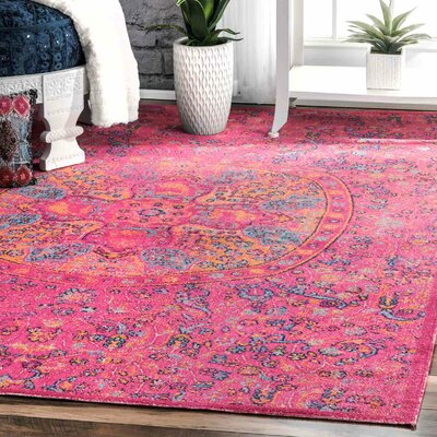 Nickolas Pink Area Rug Rug Size: Rectangle 8 x 10