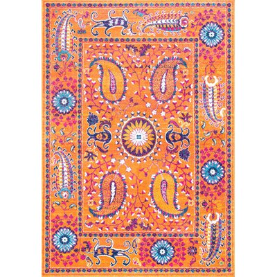 Solomon Orange Area Rug Rug Size: 9 x 12