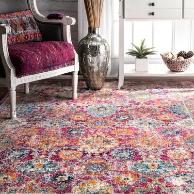 Paige Pink Area Rug Rug Size: Rectangle 5 x 75