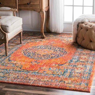 Pierce Orange Area Rug Rug Size: 4 x 6