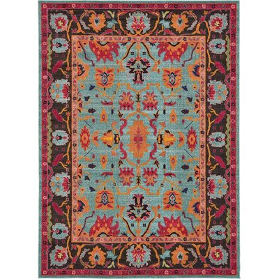 Fujii Blue/Orange Area Rug Rug Size: Rectangle 5 x 8
