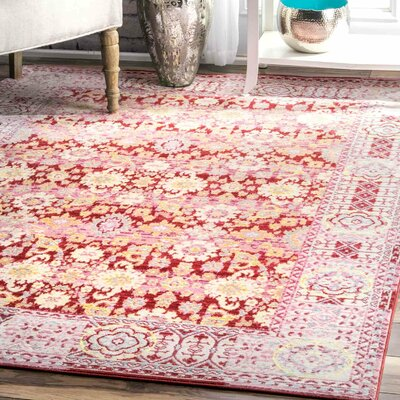 Douglas Red Area Rug Rug Size: Rectangle 53 x 77