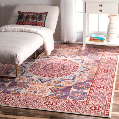 Ibrahim Red Area Rug Rug Size: Rectangle 53 x 77