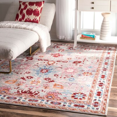 Cyrus Red Area Rug Rug Size: Rectangle 53 x 77
